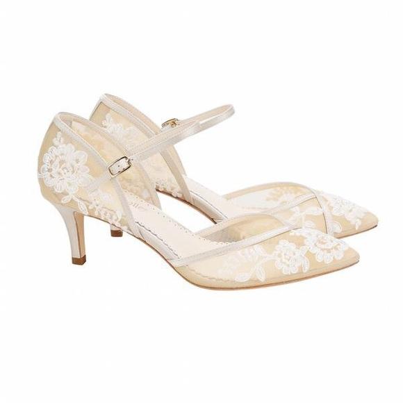 483308faca27 Bella Belle Shoes - Bella Belle Candice D orsay Nude Lace Kitten Heel